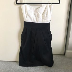 Strapless Black & White Dress w/ Bow (Juniors 9)